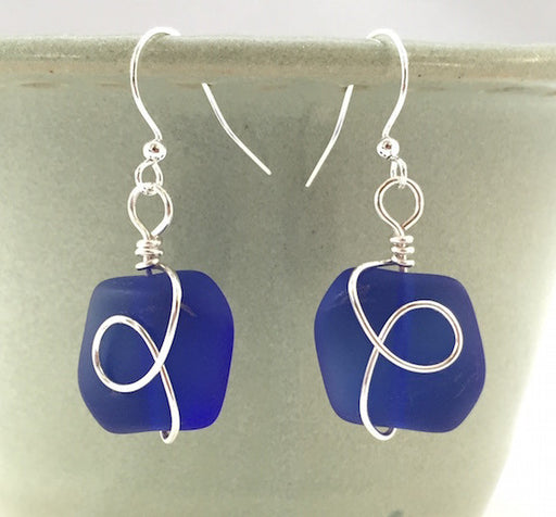 Earrings - Square Nugget Silver Twist - Cobalt Blue
