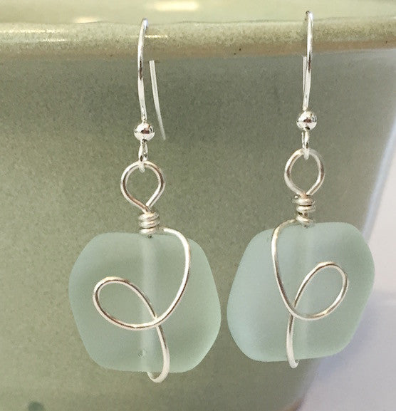 Earrings - Square Nugget Silver Twist - Pale Aqua