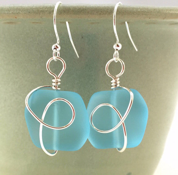 Earrings - Square Nugget Silver Twist - Turquoise Blue