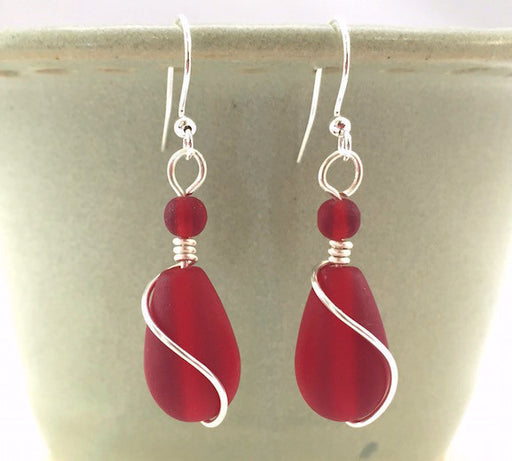 Earrings - Teardrop Wire Wrapped - Cherry Red