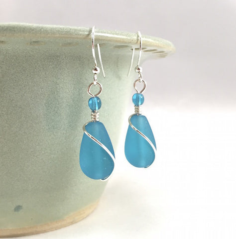 Earrings - Teardrop Wire Wrapped - Pacific Blue