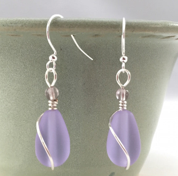 Earrings - Teardrop Wire Wrapped - Periwinkle