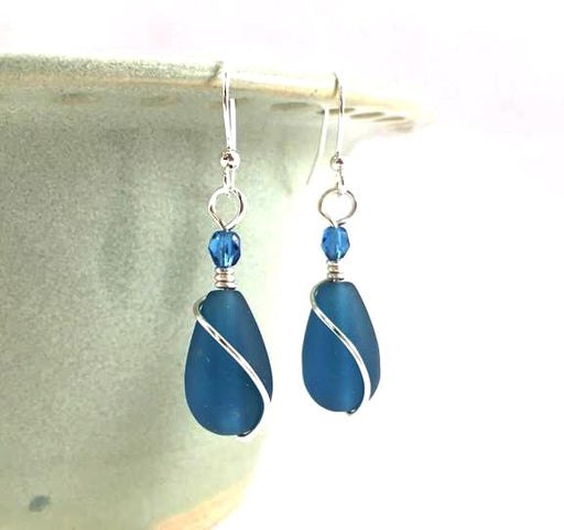 Earrings - Teardrop Wire Wrapped - Teal