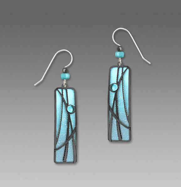 Earrings - Two-Toned Aqua Column with Hematite Reeds and Cab - 7483