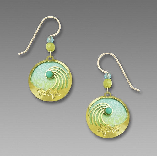 Earrings - Wave and Starfish over Aquas - 7804