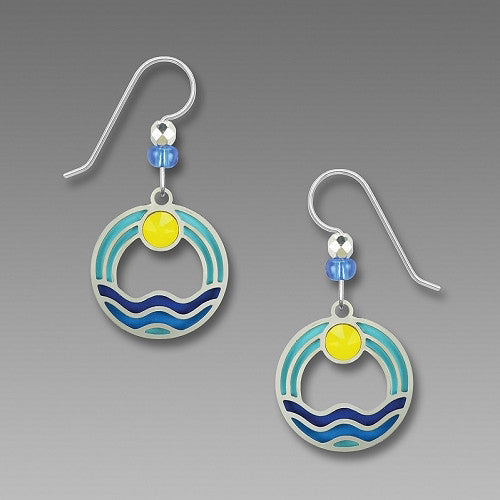 Earrings - Waves Over Blue with Yellow Cab - 7799