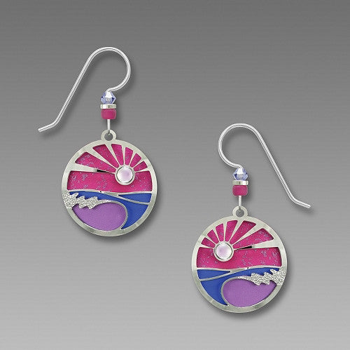 Earrings - Waves with Pink and Purple Twilight - 7787