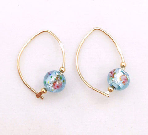 Earrings - Wishbone - Small - GF - Aqua Glass Bead