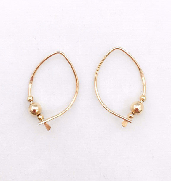 Earrings - Wishbone - Small - GF - Gold Ball