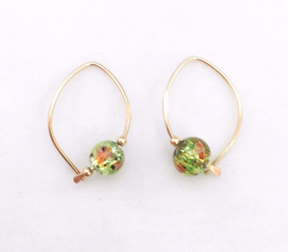 Earrings - Wishbone - Small - GF - Green Glass Bead