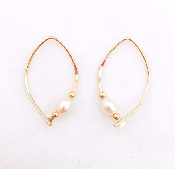 Earrings - Wishbone - Small - GF - Pearl