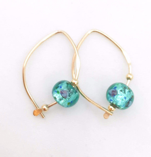 Earrings - Wishbone - Small - GF - Teal Glass Bead