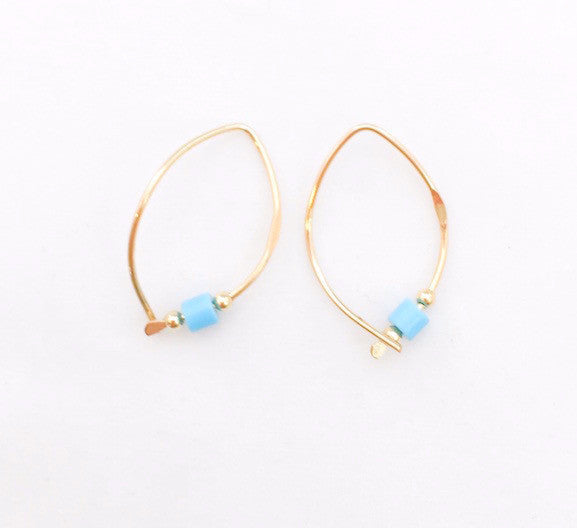 Earrings - Wishbone - Small - GF - Turquoise Bead