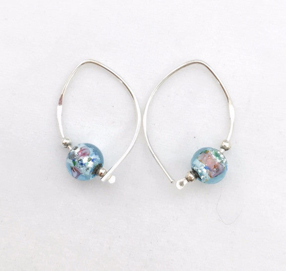 Earrings - Wishbone - Small - SS - Aqua Glass Bead
