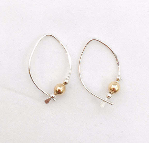 Earrings - Wishbone - Small - SS - Gold Ball