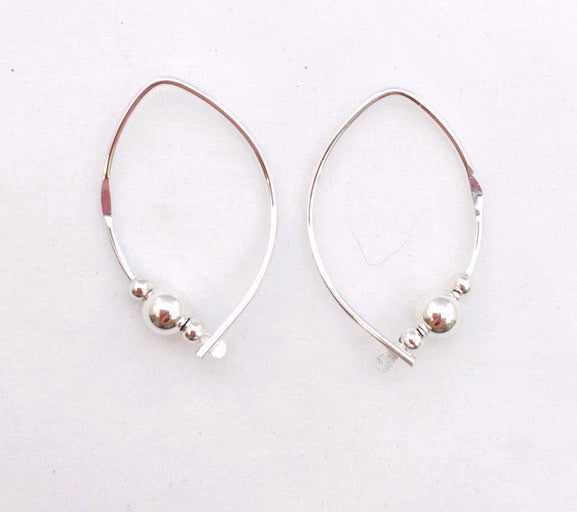 Earrings - Wishbone - Small - SS - Silver Ball