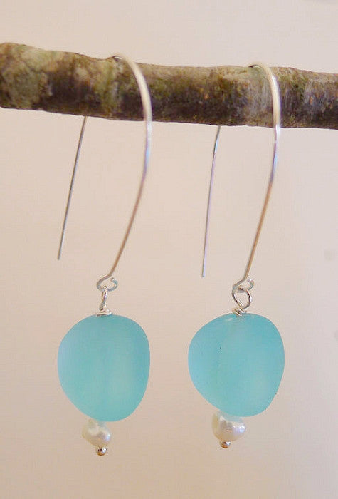 Earrings - Tumbled Glass/Pearl - Turquoise