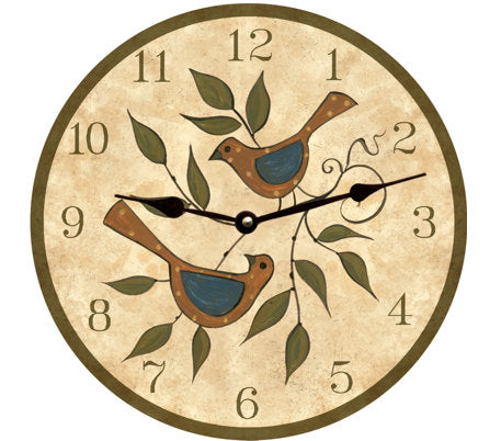 Clock - Wall Hanging - Folk Birds Clock