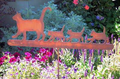 Steel Cat Family Garden Stake