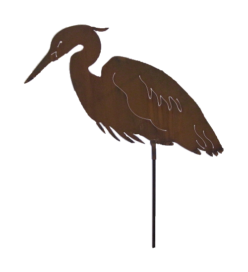 Large steel heron stake for garden or yard