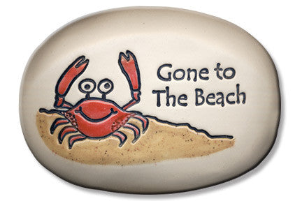 Ceramic Garden Stone - Gone to the beach.
