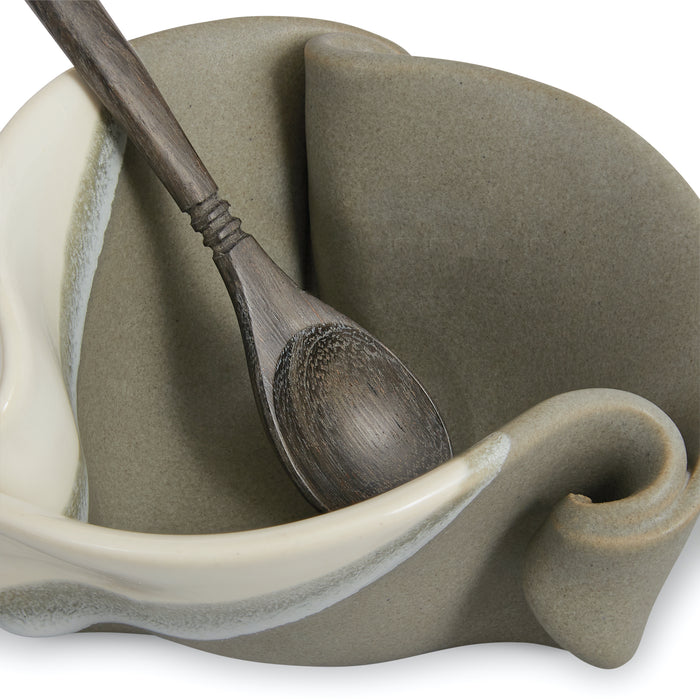 Mustard Pot - Grey and White