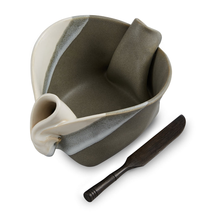 Pinch Pot - Grey & White Stripe