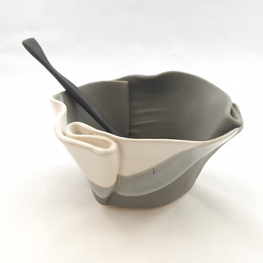 Guacamole Bowl - Grey & White Stripe