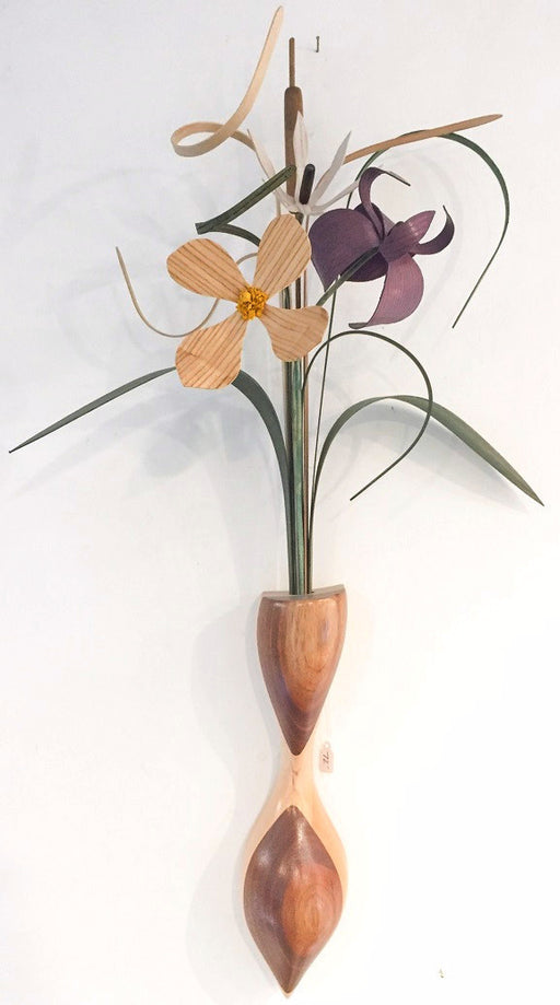 Hanging - Roots of Elegance - Natural, White & Purple Flowers - Red Oak, Maple and Black Walnut Vase - 229-F MB-N/PI/DT