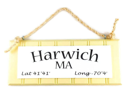 Beadboard Longitude Sign - Harwich - Yellow