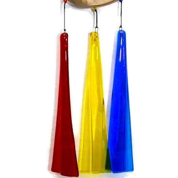 Wind Chimes - Three Piece Fused Glass Wind Chime on Driftwood - Rainbow - 3R