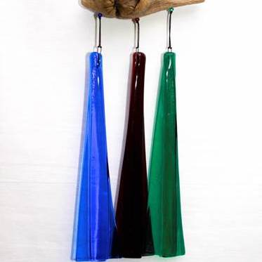 Wind Chimes - Three Piece Fused Glass Wind Chime on Driftwood - Blue Purple Green - 3BPG