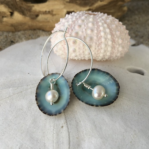 Earrings - Limpet Hoops - White Pearl - Sterling Silver