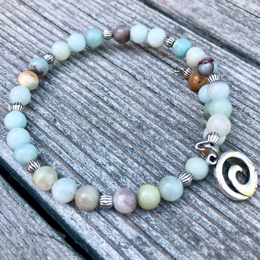 Gemstone Wrap Bracelet - Amazonite - Wave Charm