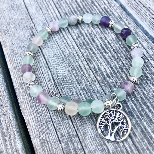 Gemstone Wrap Bracelet - Fluorite - Matte - Tree of Life Charm