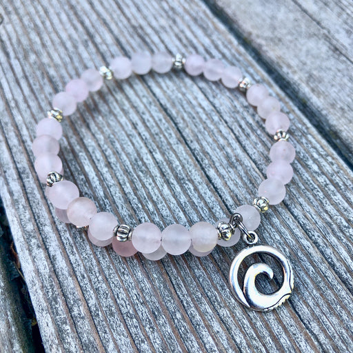 Gemstone Wrap Bracelet - Rose Quartz - Matte - Wave Charm