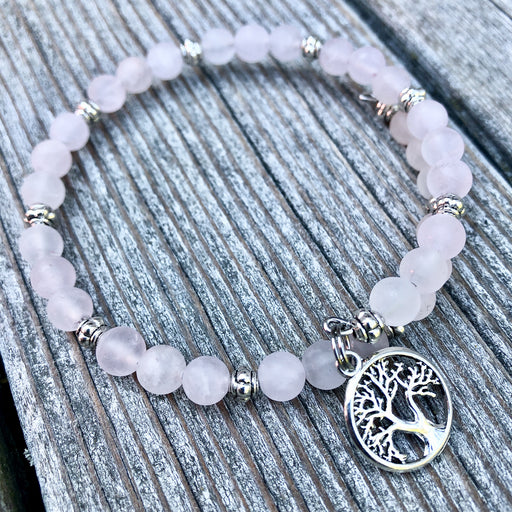Gemstone Wrap Bracelet - Rose Quartz - Matte - Tree of Life Charm