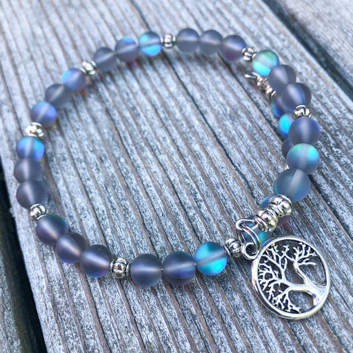 Gemstone Wrap Bracelet - Spectrolite Quartz - Matte - Tree of Life Charm
