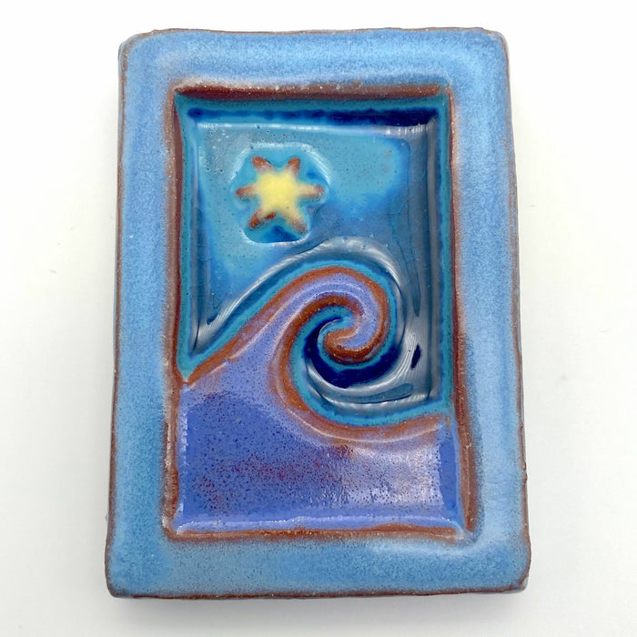 Ceramic Art Tile - Small Wave - Wisteria/Frost