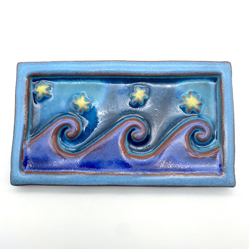 Ceramic Art Tile - Medium Wave - Evening Blue/Frost/Wisteria