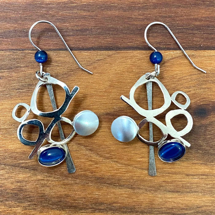Earrings - Bright Silver and Navy Blue Stone