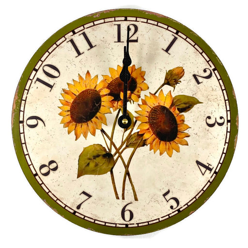 "Clock - Wall Hanging - 10"" - Three Sunflowers"