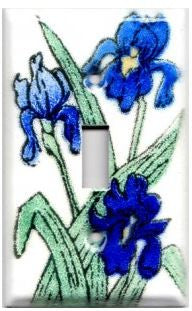 A handmade single toggle fused glass switch plate with the image of blue irises.