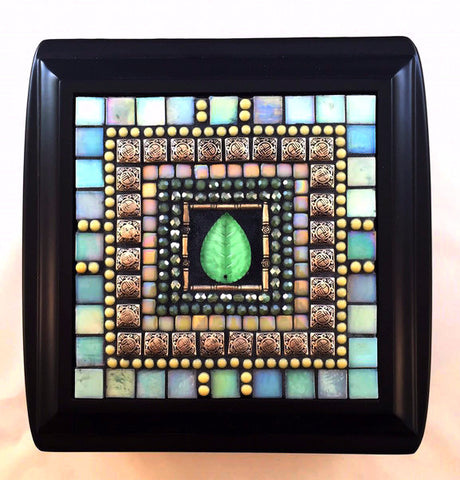 Aquamarine mosaic jewelry box