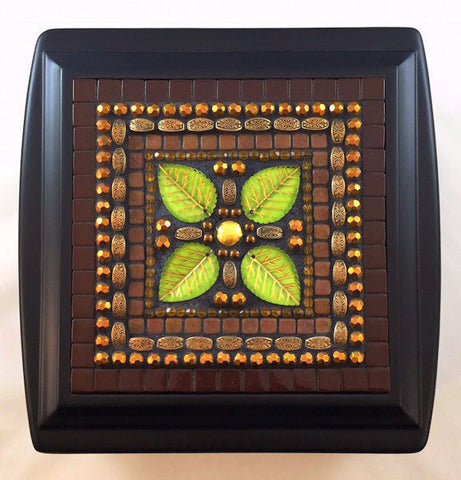 Chocolate brown mosaic jewelry box
