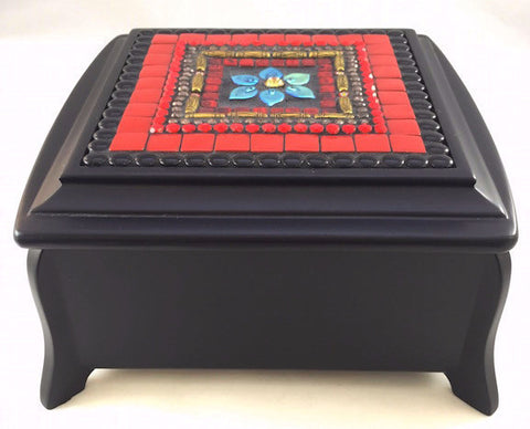 Red mosaic jewelry box with flower