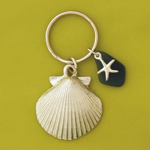 Key Chain - Shell - Blue Sea Glass