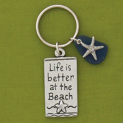 Key Chain - Life is Better at the Beach - Blue Sea Glass