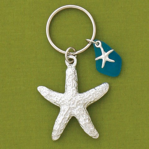 Key Chain - Starfish - Turquoise Sea Glass