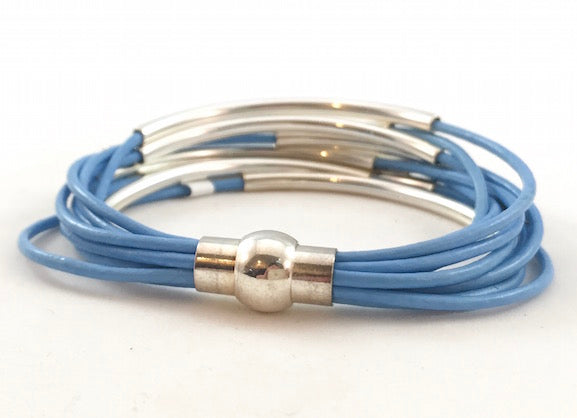 Leather Tube Bracelet - Silver Tubes - Baby Blue - Small